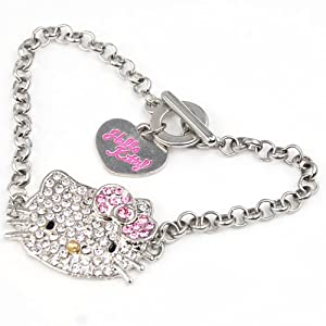 World Pride Cute Crystal Kitty Face Bling Bracelet Sparkle Diamante Jewelry