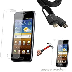 Qualitas Pack of 3 Tempered Glass for Sony Xperia Z Ultra + 2-in-1 Lightning Cable with 8 Pin and Micro USB Connectors