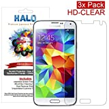 Halo Screen Protector Film High Definition (HD) Clear (Invisible) for Samsung Galaxy S5 (3-Pack) - Lifetime Replacement Warranty