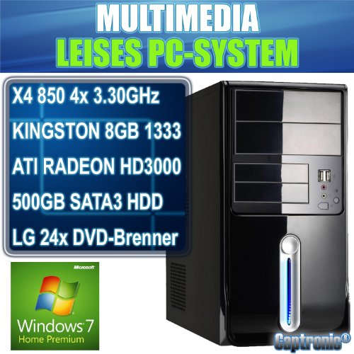 Captronic® Windows 7 Home Premium 64bit (Lizenz + Datenträger) | Silent PC AMD Phenom II X4 850 (4x 3,30GHz) QuadCore | KINGSTON 8GB DDR3-1333 | 24x DVD-Brenner | 500GB HDD SATA3 (6Gb/s) | MSI 760GM-P23 (FX) | ATI Radeon HD 3000 1GB VGA/DVI | CardReader | 7.1 Sound | GigabitLAN | Design Gehäuse Piano Schwarz