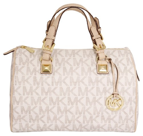 Michael Kors Grayson Large Womens Satchel Handbag with Logo Vanilla