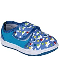 MYAU Kid's Girls Boys Flower Printed Blue White Stylish Comfortable & Soft Cotton Casual Sneakers