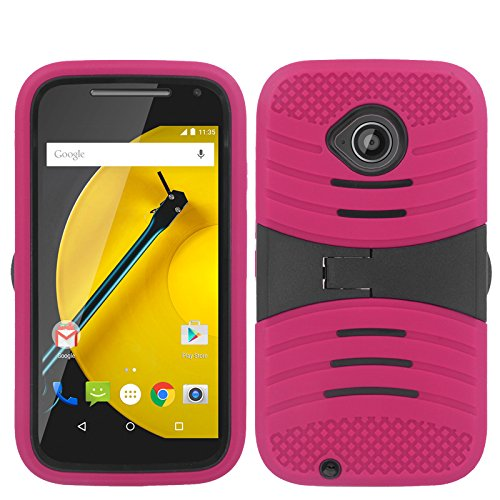 Warrior Wireless (TM) For Motorola Moto E LTE (2nd Gen) - UCASE Cover w/ Kickstand w/ Screen Protector - Hot Pink UCASE + Bundle = (ITEM + CELLPHONE STAND) - By TheTargetBuys