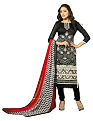 Surat Tex Black Color Embroidered Chanderi Cotton Un-Stitched Dress Material - B017RAVXYM