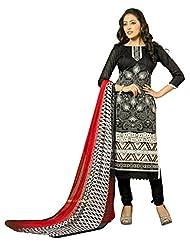 Surat Tex Black Color Embroidered Chanderi Cotton Un-Stitched Dress Material - B017RAVXYM