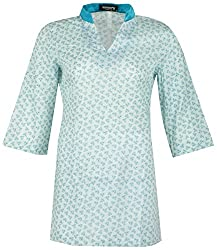 Century Women's Cotton Regular Fit Kurti(#TF219,Blue)