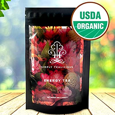 THE BEST ORGANIC HEALTHY WEIGHT LOSS TEA - Clean Energy + Appetite Suppressant + Craving Control + Boost Metabolism + Delicious Taste. 100% Certified Organic Ingredients - Green Tea, Oolong Tea, White Tea, Pu erh Tea, and More! - By Simply Tealicious
