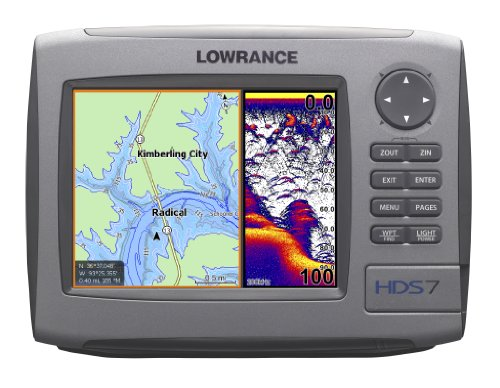 Lowrance HDS-7 7-Inch Waterproof Marine GPS and Chartplotter with 83200HZ transom mount transducer