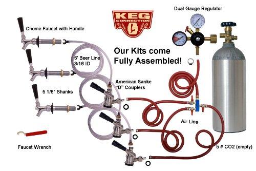 3 Faucet Refrigerator Keg Kit, for Standard Kegs