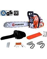 Parker - Tronçonneuse thérmique 62 cm³ - Longueur de guide de 50cm - + 2 chaine, sac de transport et kit d'outils/cache