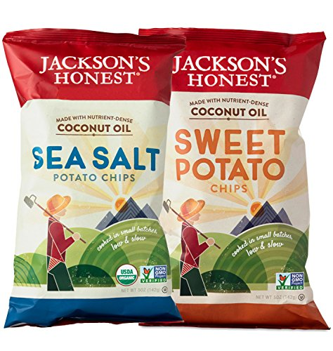 Jackson's Honest Potato Chips, Healthy Snacks, Variety Pack of 2, Sea Salt and Sweet Potato Falvors, and with Organic Coconut Oil (Roast Potatoes Recipe compare prices)