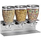 Zevro KCH-06151 Commercial Plus Edition Portion Control Triple Dry Food Dispenser, Silver/Chrome