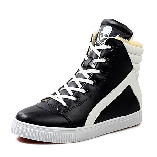 GIY Men Fashion Skull High-top Fur Lining Sneaker Platform Thick Bottom Lace-up Casual Skate Shoes