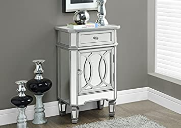 "BRUSHED SILVER / MIRRORED 29""H ACCENT TABLE (SIZE: 18L X 13W X 29H)"