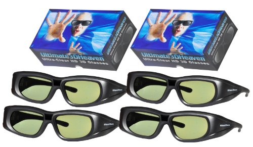 4 Rechargeable Ultra-Clear 3D Glasses for Panasonic