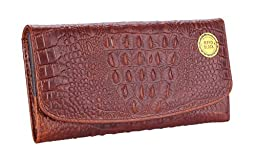 GUSTT® RFID Blocking Women Genuine Leather Accordion Style Crocodile Embossed Wallet (Brown1b)
