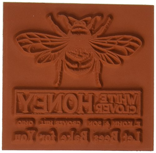 Deep Red Stamps Honey Bee Vintage Label Rubber Stamp