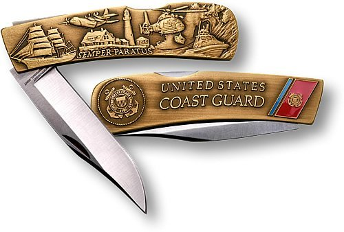 1 X Coast Guard Lockback Knife - Small Bronze Antique