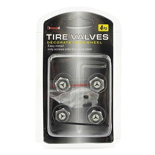 Idoood mercedes benz anti theft chrome car wheel tire for Mercedes benz valve stem caps