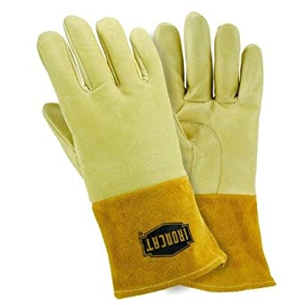 IRONCAT 6020/L Insulated Top Grain Pigskin MIG Leather Welding Gloves, Large, Pearl