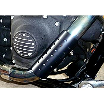 Mr Luckys Satin Black 6 Inch Motorcycle Heatshield for Harley, Bobber, Chopper, Vintage, Retro, Custom