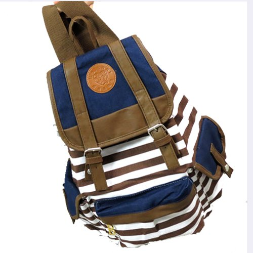Hunnt Brown Canvas Backpack School Bag Super Cute Stripe for School Laptop Bag Waterproof - 1
