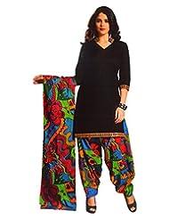 Namaskaar India Black & Green Printed Salwar Suit Dupatta Material For Women