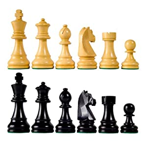"Classic Wood Chess Pieces with 3 3/4"" King"