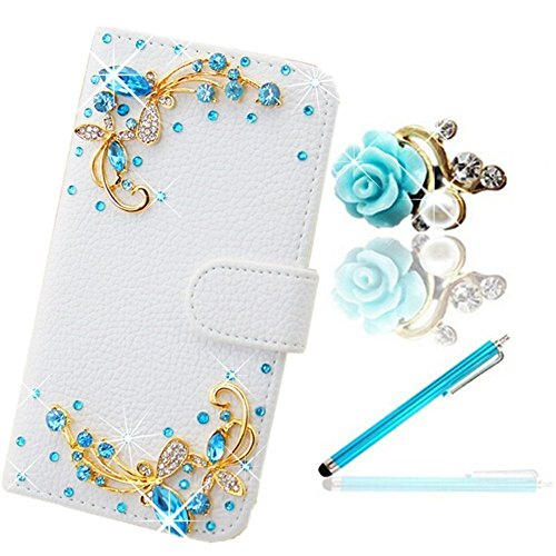 Vandot 3 in1 Accessories Set Elegante Lusso Sottile Flip Folio Pelle Leather Case per Wiko Bloom Classico Protector Protettiva Custodia Cover Rhinestones Diamond Glitter Shinning Shell Bling Book Magnete Snap-on Supporto Copertura Caso Blu Butterfly Farfalla Stile + Cristallo Strass Flower Modello Protezione di Polvere Anti-Dust Polvere Spina Blue + Azzurro Penne Capacitive Universali Stylus Penna per Dispositivi Touchscreen