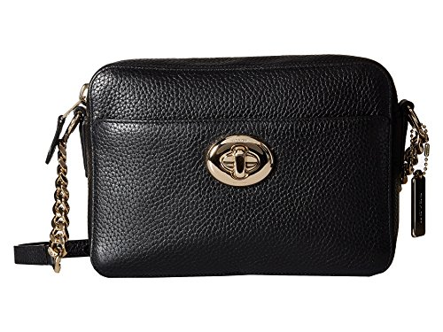 COACH Women`s Pebbled Leather Turnlock Camera Bag LI/Black Cross Body