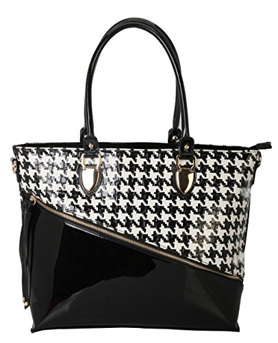 Rimen & Co. Front With Zipper Womens & Ladies Hounds-tooth Structured PU Patent Leather Tote Handbag Purse QN-2860 (Black)