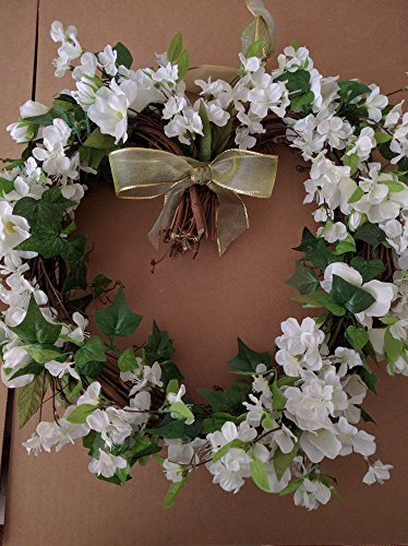 PND's Handcrafted Faux Silk Floral Wreaths: Silk White Cherry Blossom Heart Wreath (Silk Elements Mixed Silk compare prices)