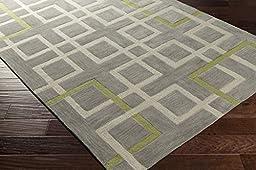 Gray Designer Rug Contemporary 5-Foot x 7-Foot 6-Inch Hand-Made Geometric Carpet