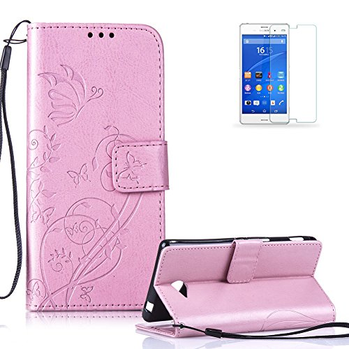 Cover Funyye per iPhone 4S/5SE/5C/6S Plus, Samsung Galaxy J120, J210, J310, J510, J710, A310, A510, S2/S3/S4/S5/S6/S7Edge, LG, Sony Xperia, HTC, Nokia, Motorola, Huawei [con protezione schermo], custodia a portafoglio elegante e magnetica in ecopelle, con cinturino da polso e tasche per carte di credito, funzione di supporto libro, design con farfalla e foglia di vite, protezione completa Rosa rosa Sony Xperia M2
