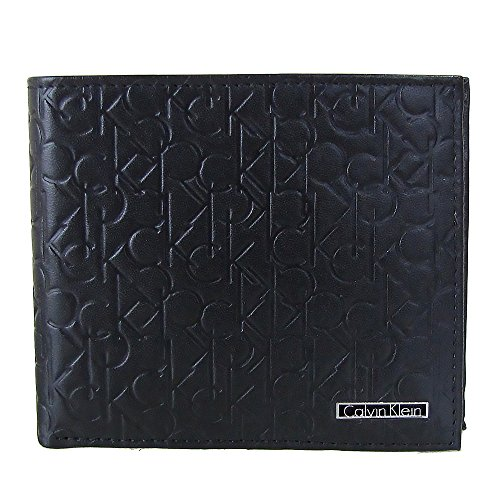 (カルバンクライン)Calvin Klein  74285 ブラック ロゴ型押し 2つ折り財布  小銭入れ付き メンズ(並行輸入品)