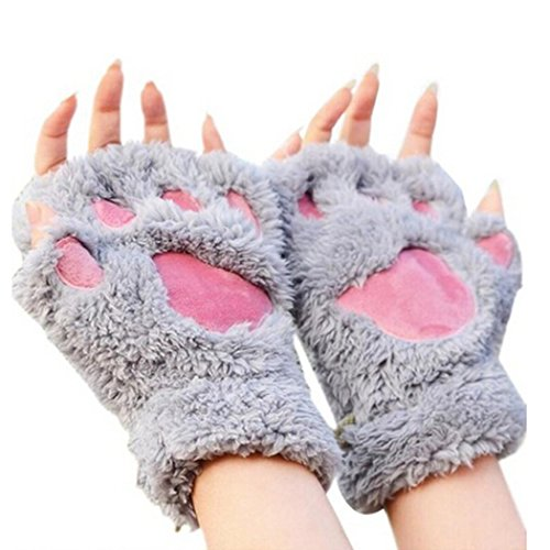 arshiner-women-bear-plush-cat-paw-claw-glove-soft-winter-gloves