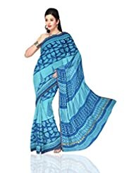 Unnati Silks Women Pure Handloom Chanderi Sico Sky Blue Saree