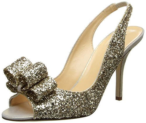Kate Spade New York Women's Charm Sandal,Platinum/Glitter/Gold Liquid,10 M US (Platinum Heels For Women compare prices)