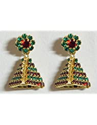 Green And Maroon Stone Studded Designer Earring - Stone And Metal
