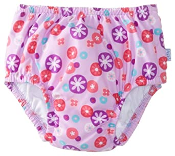 i play. Baby-Girls Infant Ultimate Ruffle Swim Diaper,Lavender Retrodot,  Large (12-18 Months)