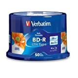 Verbatim 25 GB 6x Blu-ray Single-Layer Hub Inkjet Printable Recordable Disc BD-R LTH Low to High, 50 Disc Spindle 97672