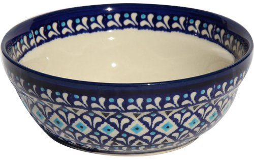 Polish Pottery Cereal / Salad Bowl From Zaklady Ceramiczne Boleslawiec #1152-217a Traditional Pattern, Height: 2.6 Diameter: 6.7 polmedia polish pottery 10 inch stoneware plate h2520c hand painted from ceramika artystyczna in boleslawiec poland shape s223a 223 pattern p1628a a 5