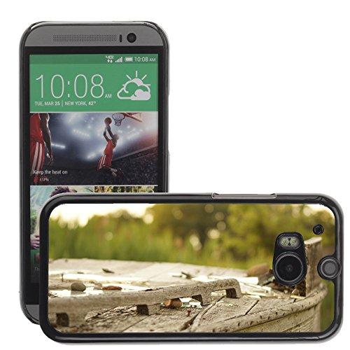 Carcasa Funda Prima Delgada SLIM Casa Case Bandera Cover Shell para // M00150040 Legno Broke Outdoor Vecchia Struttura // HTC One M8