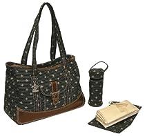 Kalencom Week-Ender Diaper Bag, Fleur de Lis Black