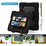"""ACEGUARDER Shockproof Case for Kindle Fire HDX 7"""" Rainproof Waterproof Shockproof Kids Proof Case for Kindle Fire HDX 7""""(only Fit Kindle Fire HDX 7 2013) (Gifts Outdoor Carabiner + Whistle + Handwritten Touch Pen) (BLACK)"""