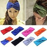 Women Turban Twist Headband Head Wrap Twisted Knotted Knot Soft Hair Band Whs484 (1 Black)
