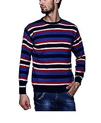 Leebonee Acrylic Men's Full Sleeve Navy Blue Sweater
