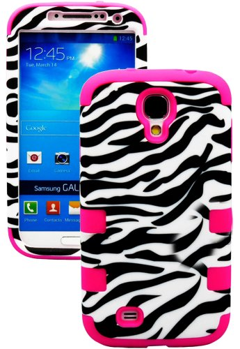 """Mylife Rose Pink - Zebra Stripes Print Design (3 Piece Hybrid) Hard And Soft Case For The Samsung Galaxy S4 """"Fits Models: I9500, I9505, Sph-L720, Galaxy S Iv, Sgh-I337, Sch-I545, Sgh-M919, Sch-R970 And Galaxy S4 Lte-A Touch Phone"""" (Fitted Front And Back S"""
