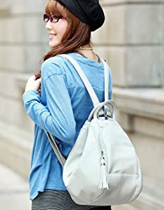 Faux PU Leather Purse Shoulder Bag Handbag Backpack Rucksack School Tassel Women 3Way Gray 170277