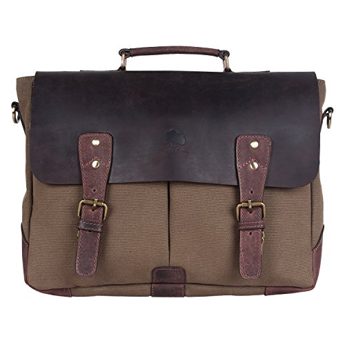 Cheapest Price! Rustic Town Leather Canvas Messenger Laptop Bag